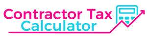 A pink and blue version of the Contractor Tax Calculator logo